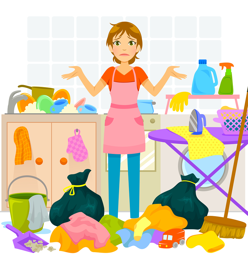 It's just easier Woman standing in kitchen surrounded by laundry, dishes, and trash.